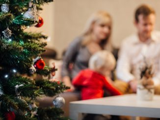juletræ med sløret familie i baggrunden